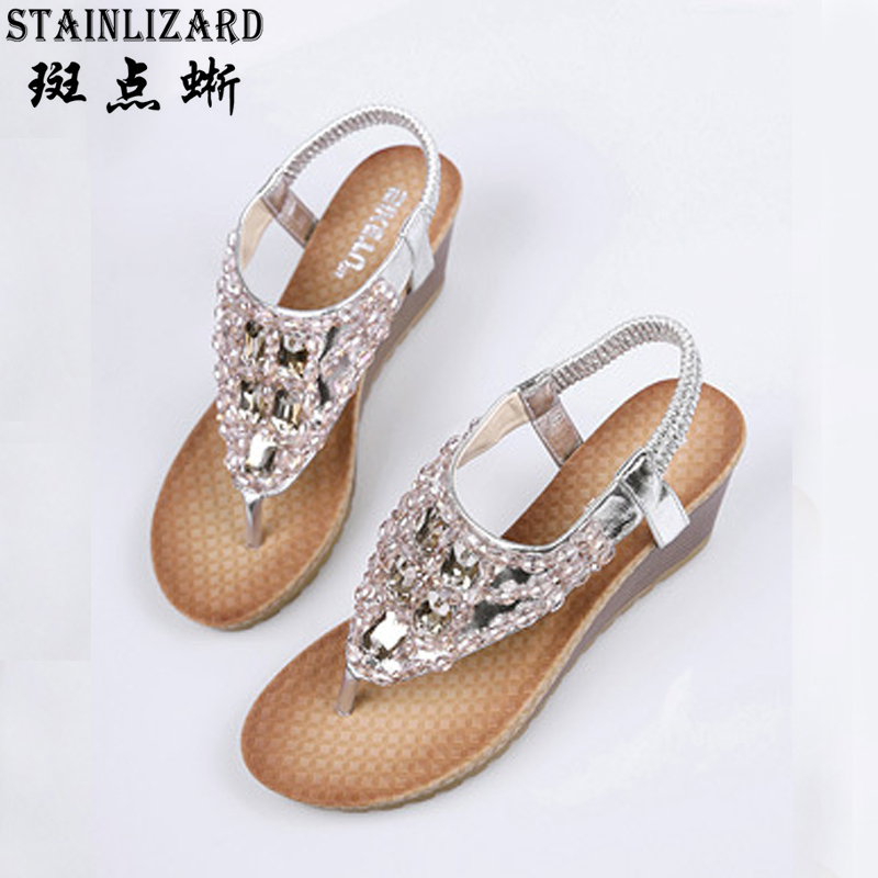 New Wedges Women Casual Sandals Summer Bohemian slope with Female Sandals women's shoes Diamond Women flip flops sandals BT532 wastyx new 2017 summer fashion cowboy women sandals casual women flip flops shoes wedges shoes woman