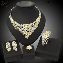 Yulaili Free Shipping 2017 Hot Sell Top Quality Brass Gold Plating Ladies AD Zircon Four Jewelry Sets