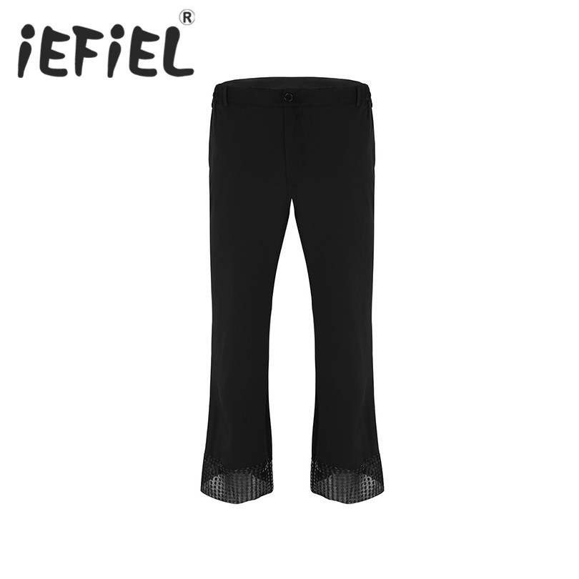 Adult Mens Disco Pants with Sequin Cuff Bell Bottom Flared Long Pants Dude Costume Trousers for Stage Dancing Performance Pant