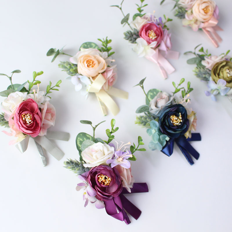 wedding groom boutonniere corsage pin brooch silk flowers  (3)