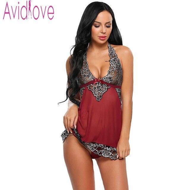 2b4162b0a9e Avidlove 2017 Women Sexy Lingerie Hot Sexy 4 Colors Women Sexy Lingerie  Babydoll Halter Lace Pathwork See Through Mesh Nightwear