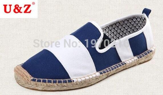 ФОТО Plus big size Eu44 stripe breathable linen straw braid fisherman shoes,100% cotton Men canvas Espadrilles shoes US11