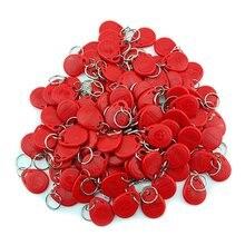 100ชิ้น125กิโลเฮิร์ตซ์EM4100พวงกุญแจขายส่งใหม่RFID P RoximityบัตรTokenแท็กที่สำคัญK Eyfobs (สีแดง)