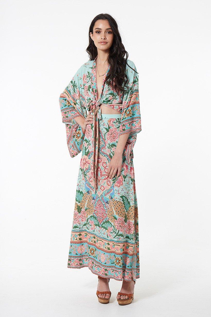 2826909a59525 US $36.41 25% OFF|BOHOFREE 2018 Bohemian Holiday Dress Lotus Floral Print  Vestidos Femme Set Wear Cardigan Top Dress Boho Chic Maxi Dress-in Dresses  ...