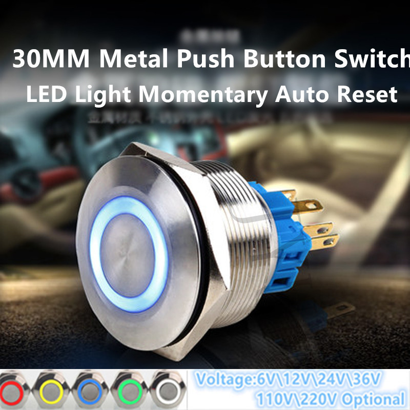 30mm Colorful LED Light Shine Car Horn Auto Reset Waterproof Momentary Flat Round Stainless Steel Metal Push Button Switch stainless steel querysystem cauterize moxa box moxibustion box furnace moxa roll column set