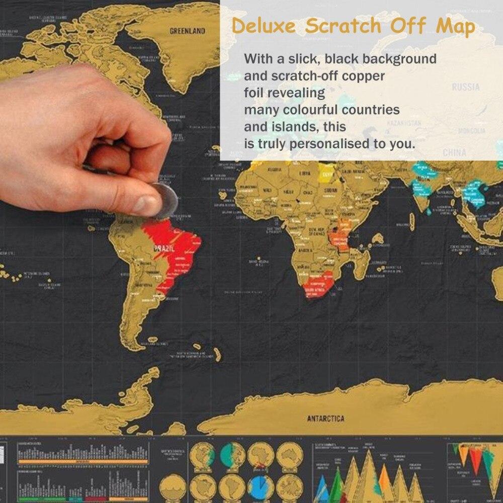 1шт путешествий мир на карте Персонализированные Делюкс карта мира мира мира от слой фольги плакат покрытие