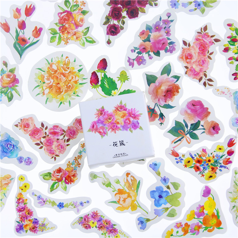 45 Pcs/Lot Blooming Flower Decorative Stickers Adhesive Stickers DIY Decoration Craft Scrapbooking Stickers Gift Stationery