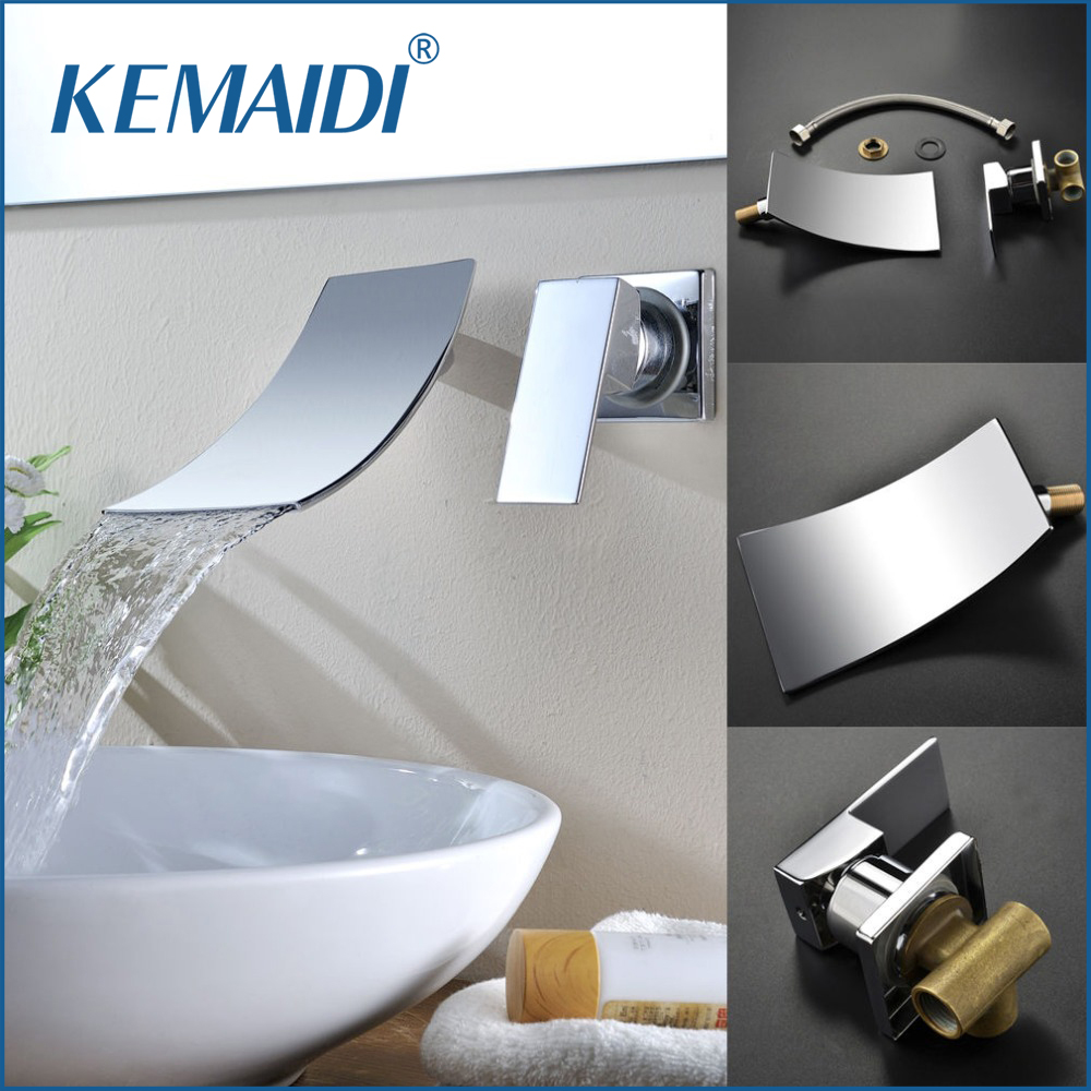 KEMAIDI New Design Single Handle Hot And Cold Mixer Wall Mounted Waterfall Spout Chrome Bathroom Basin Sink Faucet&Tap frap new waterfall basin faucet wall mounted chrome brass bathroom basin faucet spout vanity sink mixer tap single handle y10032