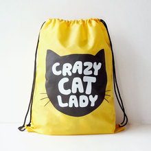 U-PICK New Original Portable Women Backpack 100% Polyester Light Yellow Cat Travel Drawstring Backpack for Book Clothes