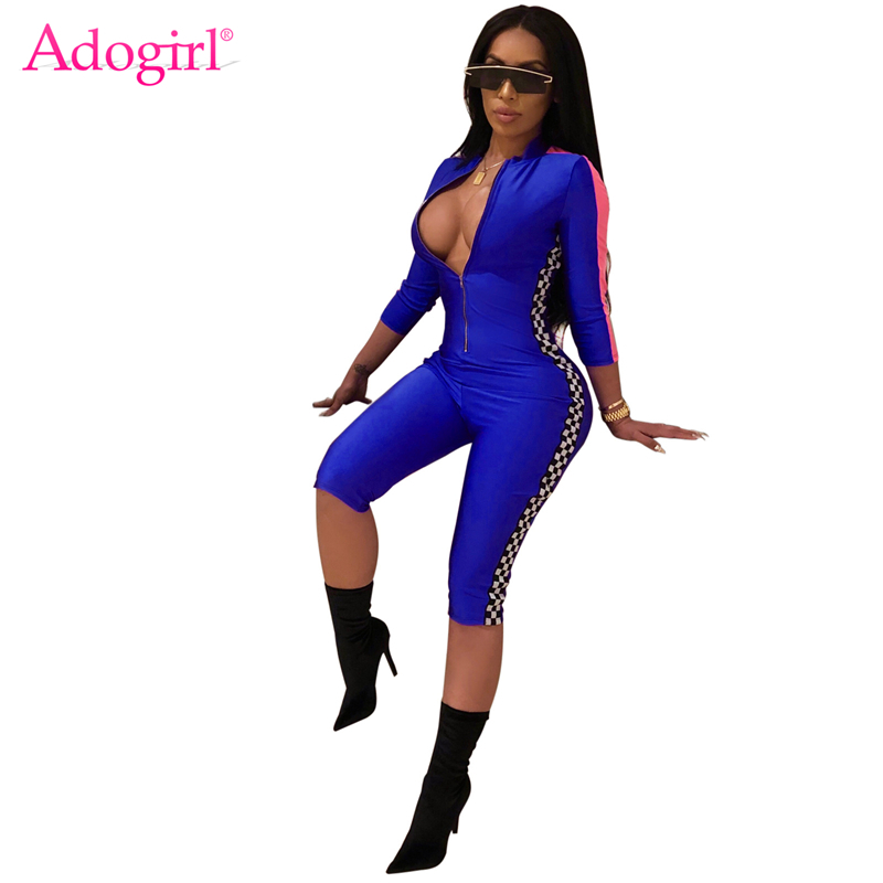 Adogirl Fashion Casual Womens Race Suit Side Plaid Sexy Zipper Up V Neck 3/4 Sleeve Bandage   Jumpsuits   Calf-length Pants Rompers