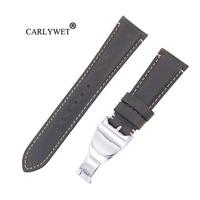 CARLYWET 22mm Wholesale Durable Genuine Leather Wrist Watchband Strap Belt Loops Band Bracelets For IWC Tudor Breitling