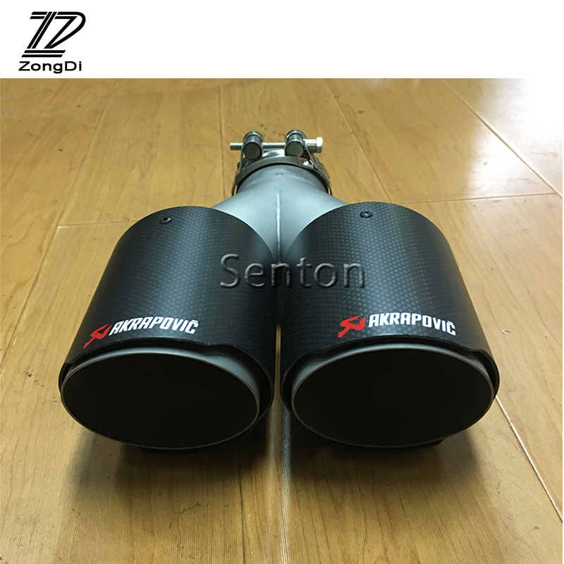 ZD Universal Car Carbon Fiber Exhaust Tips Muffler Pipe Twin Outlet Akrapovic Modified Rear Tail Liner Accessories Car-styling jzz 1pcs akrapovic car exhaust pipe