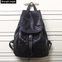 New 2016 Genuine Leather Backpacks Designer Washed Leather Bag Backpack Retro Korean Leather Backpack Shoulder Bag