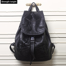 Новинка 2017 г. Высококачественная кожа Рюкзаки дизайнер мыть кожаная сумка Рюкзак Ретро корейский рюкзак сумка для Обувь для девочек Y79