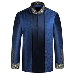 Image 3 - APEC Tang Takım Elbise Marka Yeni Mor Çin Geleneksel erkek Mandarin Yaka Lideri Kostüm Ceketler Coats M L XL XXL XXXL YZT1209
