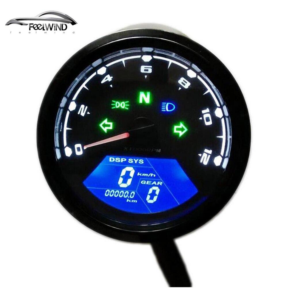 12000 PGR kmh/mph Universal LCD Digital Odômetro Velocímetro Tacômetro indicador de Engrenagem Da Motocicleta Scooter Carros de Golfe ATV