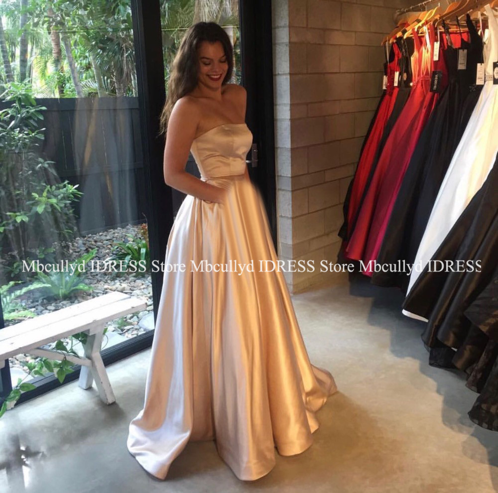 Elegant A Line Champagne   Prom     Dresses   Long 2019 Sexy Two Pieces Backless Formal   Prom   Party Gowns Black Girls Gala Evening Gowns