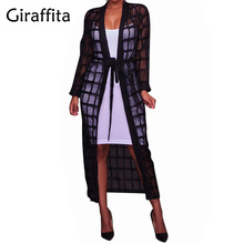 Giraffita Plaid Women Shirts Organza Beach Cardigan Kimono Long Autumn Blouses Body Top Black Camisa Mujer Big Size Blusas