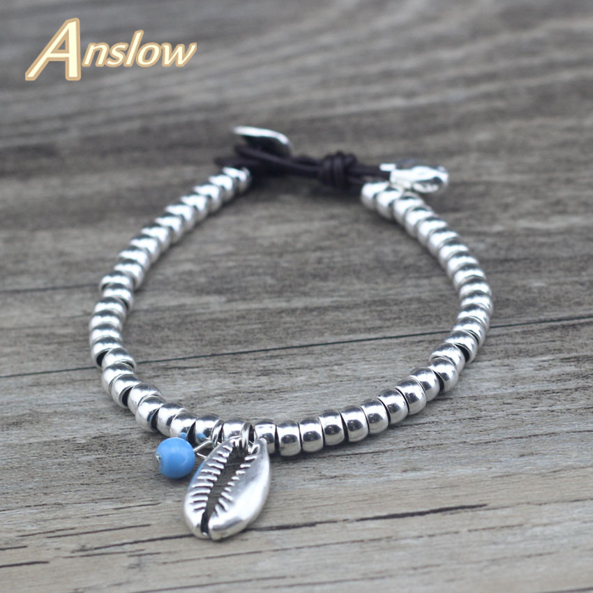 Anslow New Fashion Jewelry Brand Beaden Ocean Sea Shell Shape Bracelet For Women Kids Lady Students Christmas Gift LOW0753LB