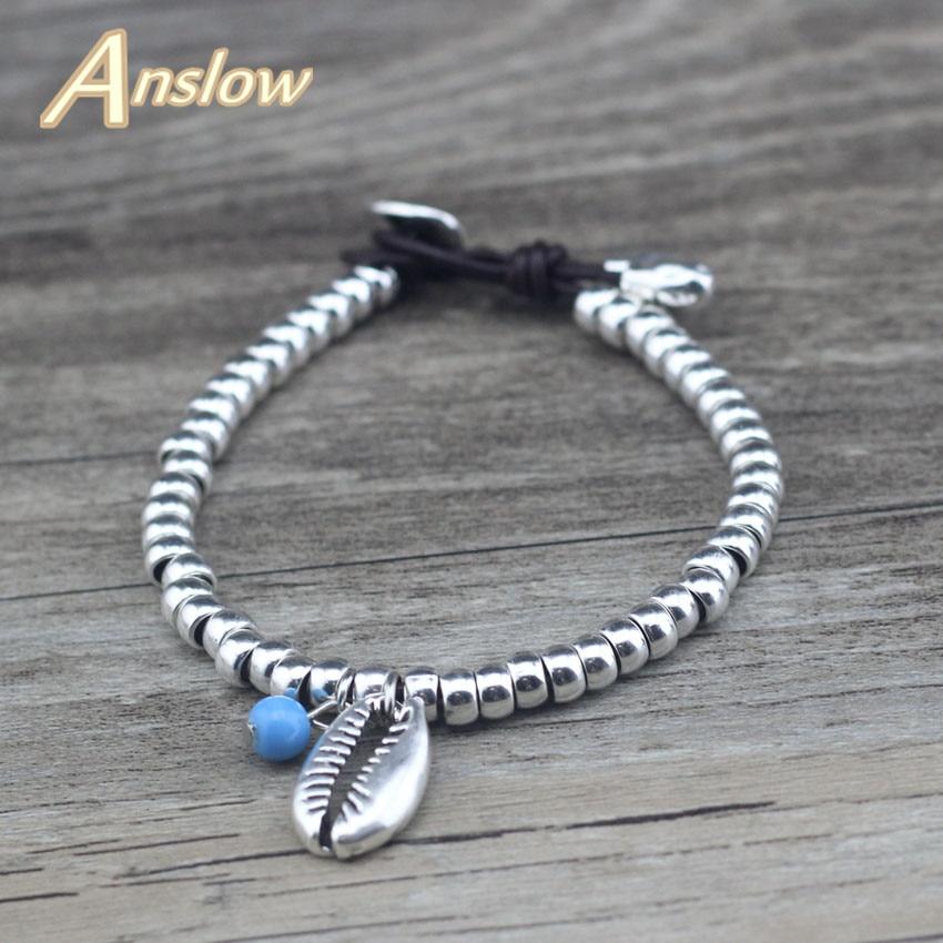 Anslow New Fashion Jewelry Brand Beaden Ocean Sea Shell Shape Bracelet For Women Kids Lady Students Christmas Gift LOW0753LB