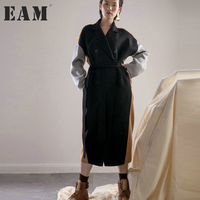 EAM 2017 New Autumn Winter Lapel Long Sleeve Hit Color Black Camcel Loose Big Size