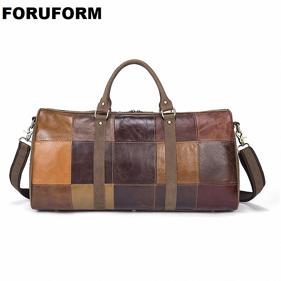 Men Genuine Leather Travel Duffle Women Real Leather Travel Bag Vintage Cow Leather Weekend Bag Big Travel Messenger Bag LI-1951