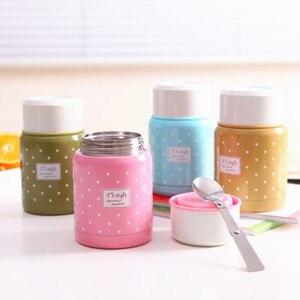 Image 1 - 350ml Material de calidad alimentaria termo taza plegable cuchara guiso sopa termo portátil Termos bueno para la familia tomar el almuerzo
