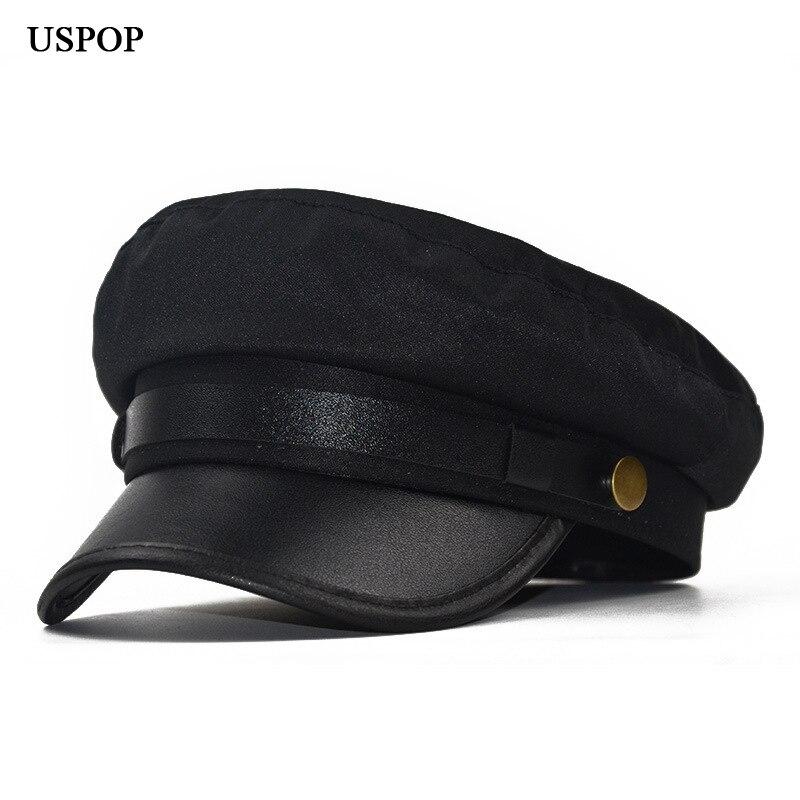 USPOP 2019 nuevos de las mujeres de la moda vendedor gorras sombrero casual  mujer patchwork PU ala gorra Octagonal gorra plana visor gorras 206bcd9260c