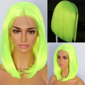 Image 4 - BeautyTown Short Neon Yellow Color Natural Bob Style Queen Makeup Women Wedding Halloween Party Present Synthetic Lace Front Wig