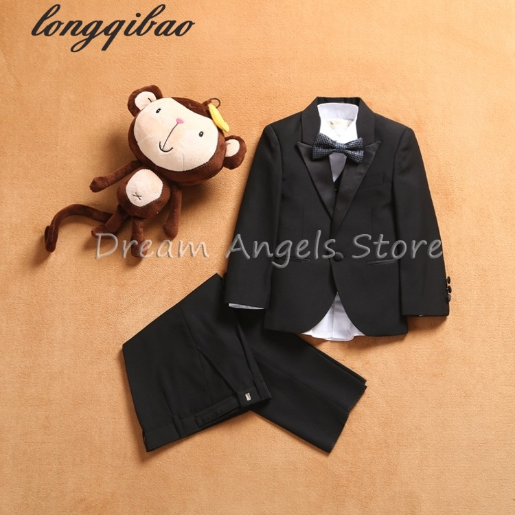 Free shipping suit Set New style suits boy Suit sets Slim Fit Groom Tuxedos boy Flower girl ( jacket + pants+Vests+Tie+bow tie) england style slim fit suit black size l