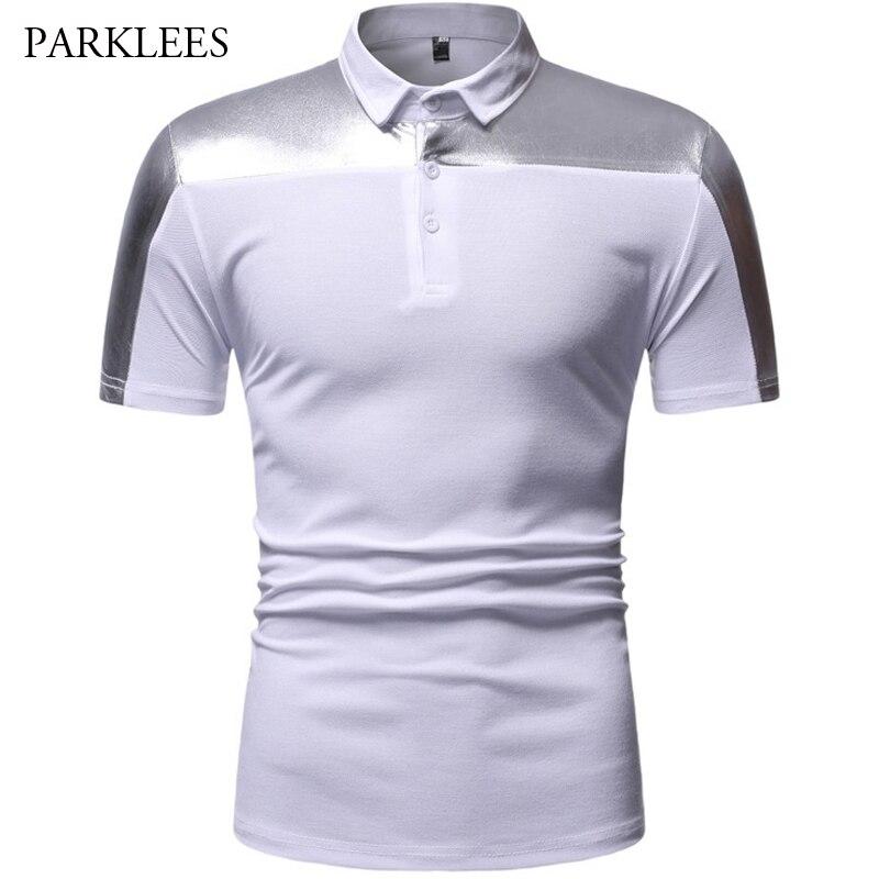 White   Polo   Men 2019 Brand Mens Metallic Patchwork   Polo   Shirt Short Sleeve Shiny Night Club Desiger   Polo   Homme Hip Hop   Polo   Tops