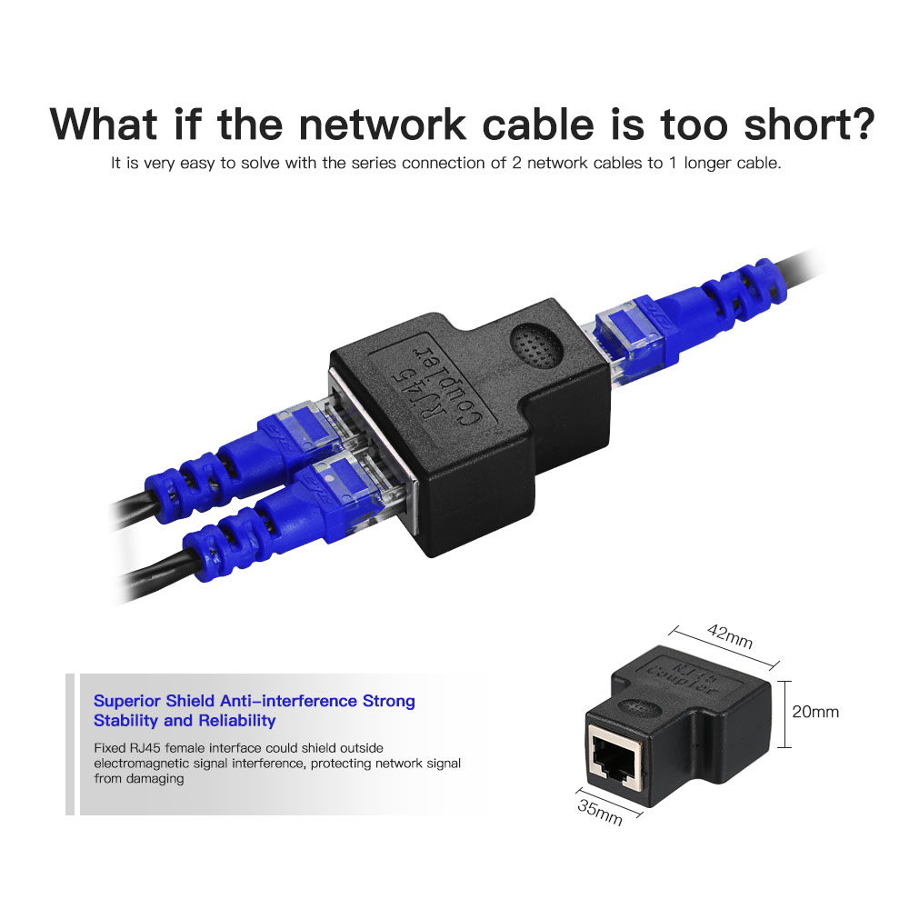 Cat 7 RJ45 Splitter Adapter 1 In to 2 Out Female Port Anti-Signal Interference