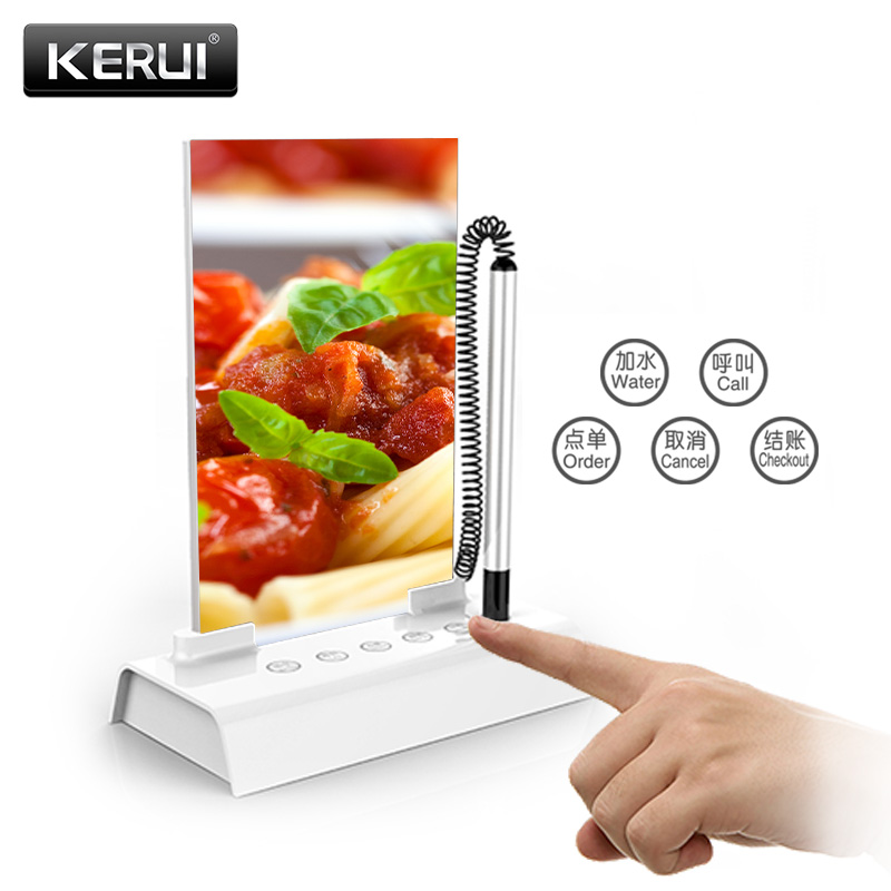 KERUI Wireless Pagers Calling System Call Service Order Cancel Checkout Restaurant Paging System 5 Key Touch Calling Table Card