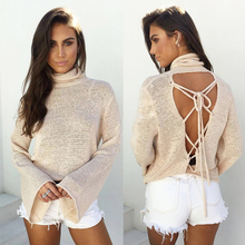 2017 New Autumn Winter T shirt Wild fashion bat sleeve lace Knitted T Shirt Loose female