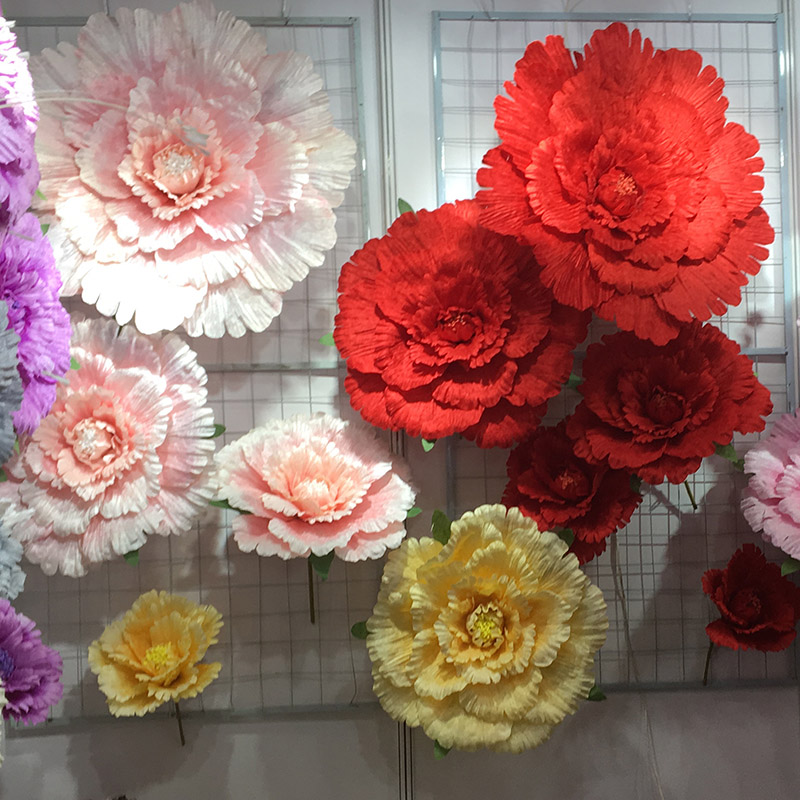 Multiple sizes Wedding Flower Large Silk artificial flower peony head for Diy flower background wall decoration