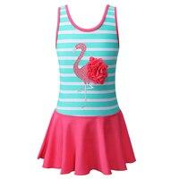 BAOHULU Floral Flamingos Swimwear One Piece Striped Swimsuit for Girls Children Swimming Suit Kids Girl Beach Dress Bathing Suit