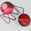 2 x Round Reflectors Lamp RED LED Rear Tail Brake turn signal Stop Light Lens Universal Car Truck Motorcycle bicycle boat 1696*2