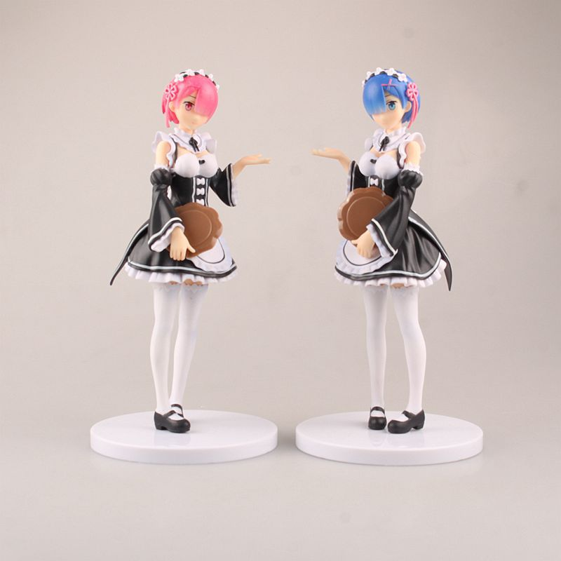 Anime Re:Life in a different world from zero Rem & Ram Sexy Maid ver.PVC Action Figure Collectible Model Toys Doll 22cm ACAF092 re life in a different world from zero ram maid with mop ver pvc figure collectible model toy 22cm