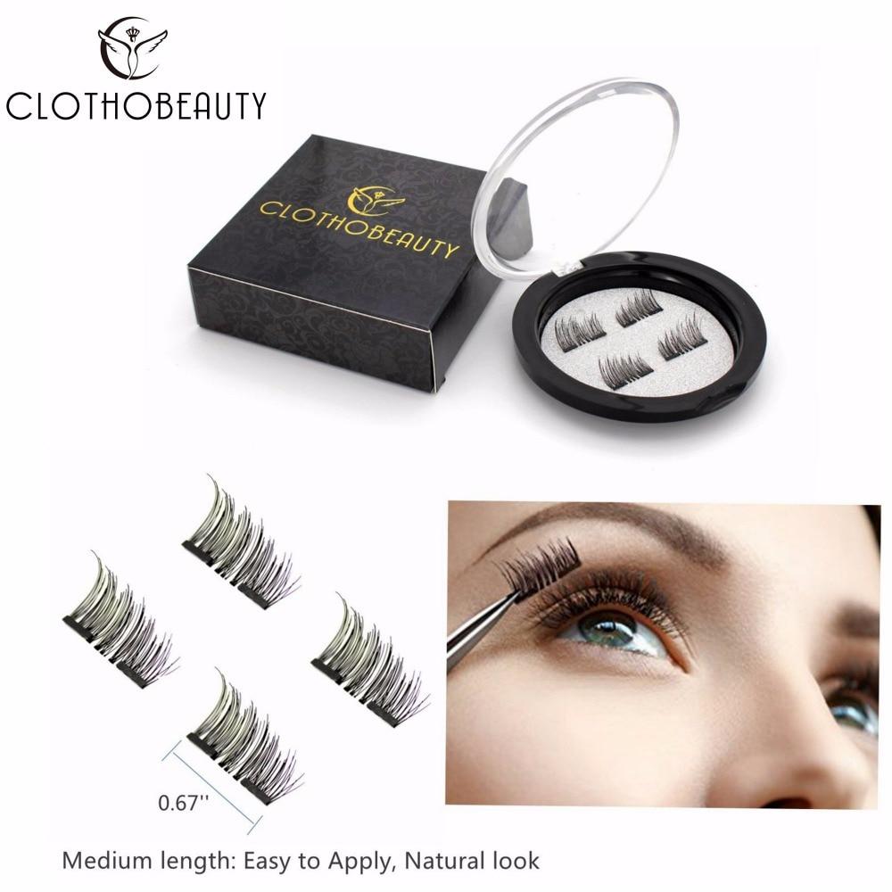 CLOTHOBEAUTY False MAGNETIC Eyelashes, Half Cover Dual Magnets, No Glue, Fake Lashes Extension, Natural Reusable Handmade(MA-01)