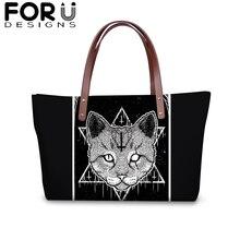 FORUDESIGNS Vintage Gothic Large Capacity Zipper Handbag for Women Witchcraft Cat Shopping Shoulder Bag Female Protable Purse