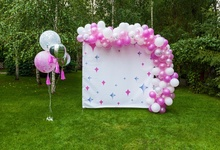 Laeacco Pink Balloons Green Grass Tree Baby Birthday Party Outdoor Scenic Photo Backdrop Photography Background For Photo Studio стоимость
