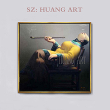 China Famous artists Liu Bao jun oil painting  fanny women smoking by hand made on canvas Art Unique Gift Idea of Extremely Rar