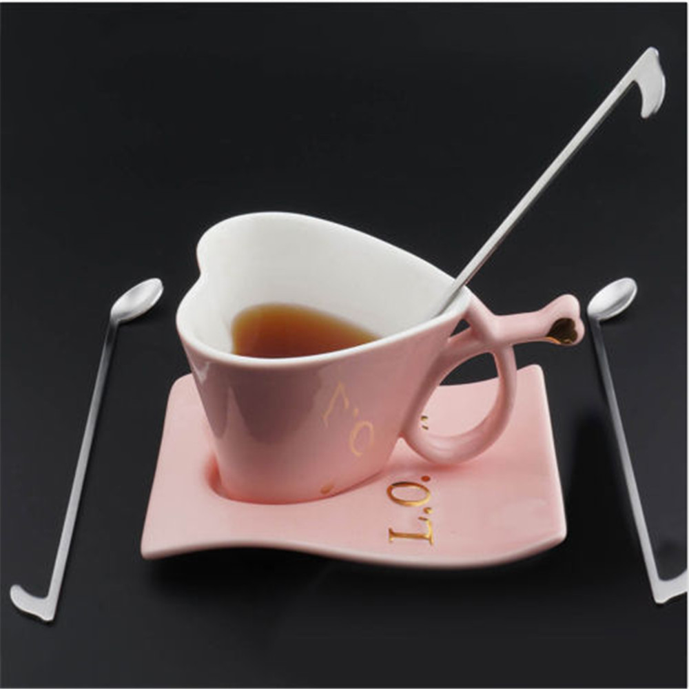 Creative Stainless Steel Note Shape Spoons For Drink Dessert Honey Coffee