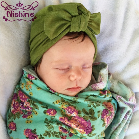 Nishine Newborn Children Supplies Hat Bohemia Style Girls Turban Headband Cotton Blend Elastic Hair Band Scarf Set of Hat Caps a new set of head cap cotton scarf dual purpose male and female geometric pattern of baotou hat