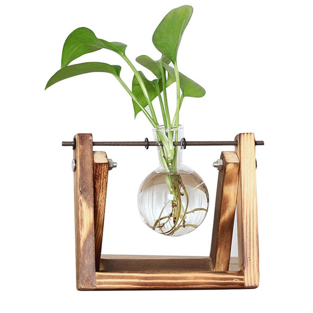 Desktop Glass Planter Bulb Vase with Retro Solid Wooden Stand and Metal Swivel Holder for Hydroponics Plants Home Office Decor 1