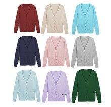 Winter Long sleeved V neck cardigan Sweater multi color JK Women Cotton Knit Cosplay K ON