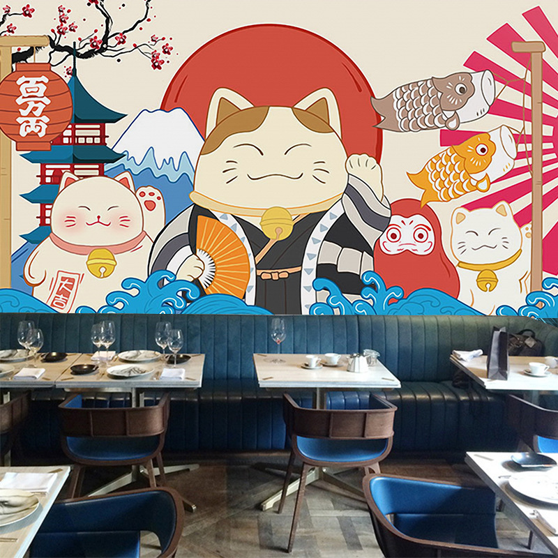 Japanese style wind lucky cat ramen snack sushi restaurant wallpaper hand-painted cartoon mural