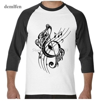 Men Printed 3 4 Sleeve Shirts High Quality Fashion Music Musical Note T Shirt Demlfen Brand