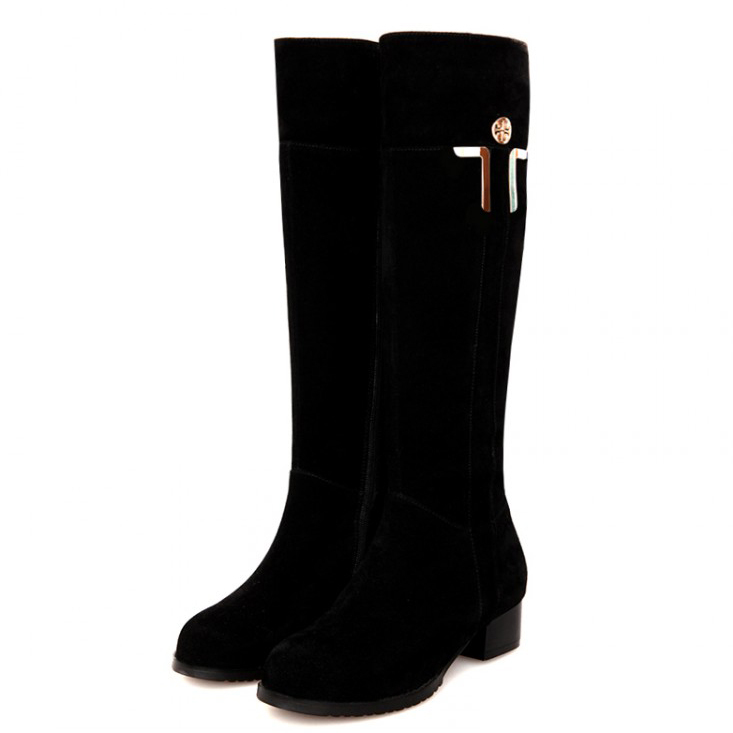 ФОТО Free shipping 2017 Genuine Leather round toe knee-high heel boots women casual fur warm snow motorcycle boots plus size30-44