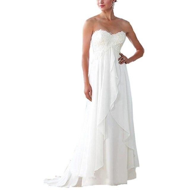 Белый Свадебные платья 2016 Средства ухода за кожей для будущих мам Для женщин Beach шифон с Кружево аппликация плюс Размеры беременных свадебные платья на заказ платье